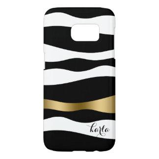 Modern Black & White Abstract Zebra Stripes Samsung Galaxy S7 Case