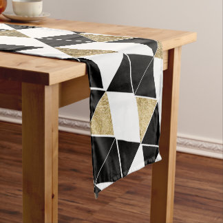 Modern Black, White, and Faux Gold Triangles Short Table Runner