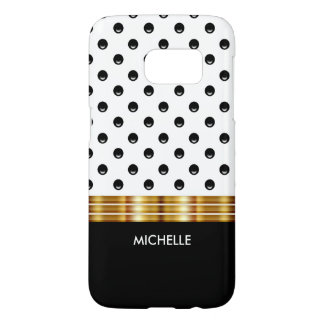 Modern Black White And Gold Monogram Samsung Galaxy S7 Case