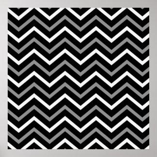 Modern Black White And Grey Chevron Pattern Zigzag Poster