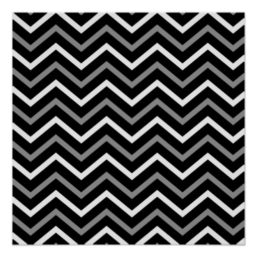 Modern Black White And Grey Chevron Pattern Zigzag Poster