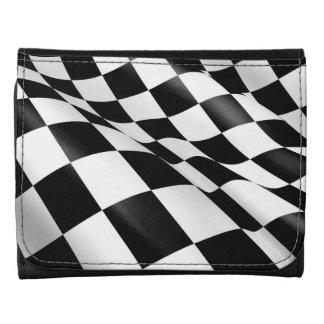 Modern Black White Checkered Flag Chequered Flag Wallets