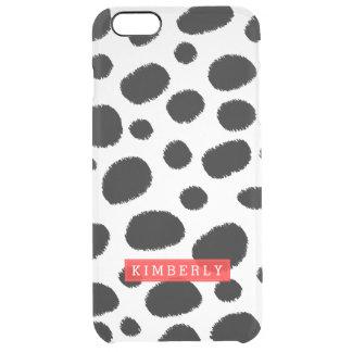 Modern Black & White Cheetah Spots Pattern GR2 Clear iPhone 6 Plus Case