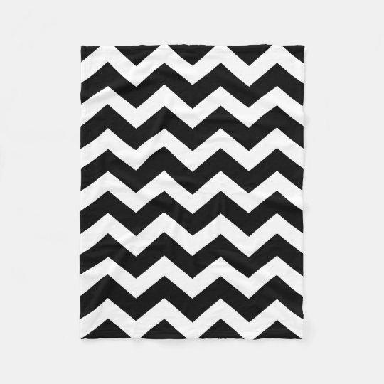 Modern Black White Chevron Pattern Fleece Blanket