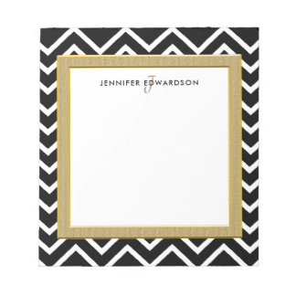 Modern black white chevron pattern monogram name notepad