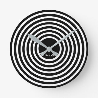 Modern Black White Circles Custom Name Monogram Round Clock