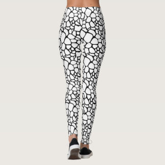 Modern Black & White Crackle Pebble Design Leggings