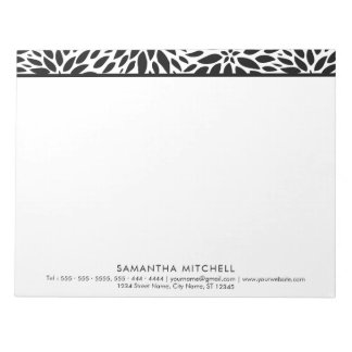 Modern Black White Dahlias Professional Notepad A4