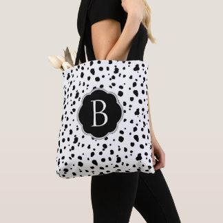 Modern Black & White Dalmatian Spots Tote Bag