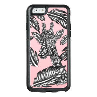 Modern black white floral giraffe pastel pink OtterBox iPhone 6/6s case