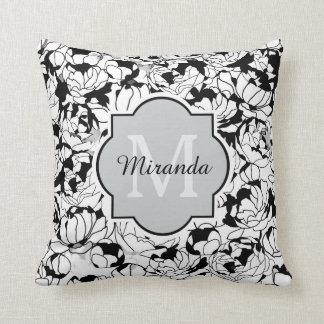 Modern Black White Floral Girly Monogram With Name Throw Pillow