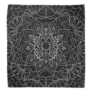 Modern black white floral hand drawn mandala bandana