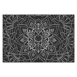 Modern black white floral hand drawn mandala tissue paper