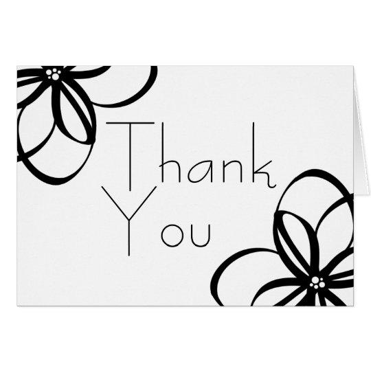 Modern Black + White Floral Thank You 4.25x5.5 Card