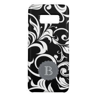 Modern Black White Floral Wallpaper Swirl Monogram Case-Mate Samsung Galaxy S8 Case