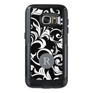 Modern Black White Floral Wallpaper Swirl Monogram OtterBox Samsung Galaxy S7 Case