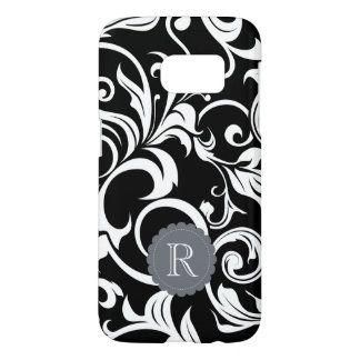 Modern Black White Floral Wallpaper Swirl Monogram Samsung Galaxy S7 Case