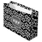 Modern Black & White Flower Pattern Grey Monogram Large Gift Bag