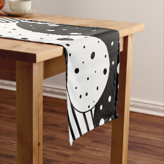 Modern Black & White Geometric Design Short Table Runner