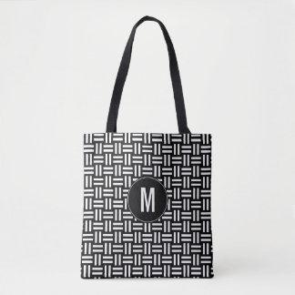 Modern Black & White Geometric Pattern | Monogram Tote Bag