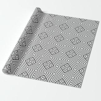 Modern Black & White Geometric Pattern Wrapping Paper