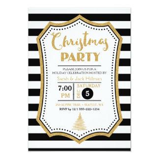 "Modern Black White Gold Faux Glitter Christmas 5"" X 7"" Invitation Card"