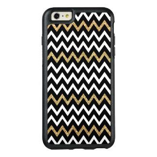 Modern Black White & Gold Glitter Chevron Pattern OtterBox iPhone 6/6s Plus Case