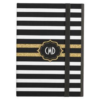 Modern Black White & Gold Stripes Pattern iPad Air Case
