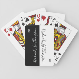 modern black white handwritten elegant playing cards