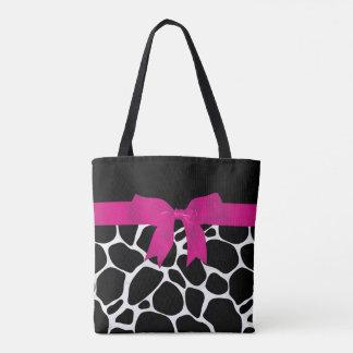 Modern Black White Leopard Print Pink Ribbon Tote Bag