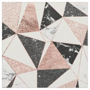 Modern black white marble blush pink rose gold gli fabric
