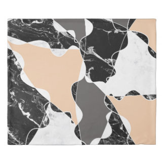 Modern black white marble gray peach color block duvet cover