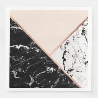 Modern black white marble rose gold color block paper napkins