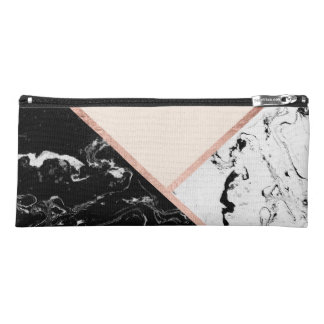 Modern black white marble rose gold color block pencil case