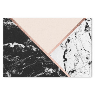 Modern black white marble rose gold color block tissue paper