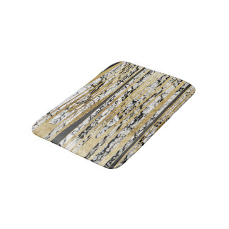 Modern Black White Marble with Faux Gold Stripes Bathroom Mat
