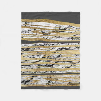 Modern Black White Marble with Faux Gold Stripes Fleece Blanket
