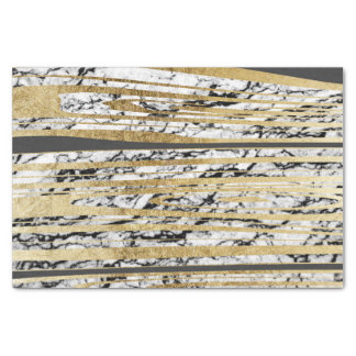 Modern Black White Marble with Faux Gold Stripes Tissue Paper