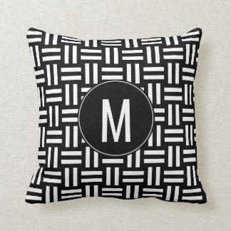 Modern Black & White Monogram Basket Weave Pattern Throw Pillow