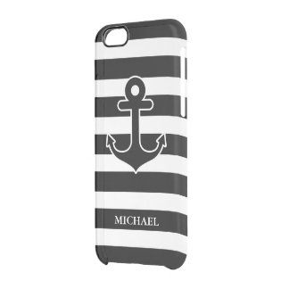 Modern Black White Nautical Anchor Stripes Pattern Clear iPhone 6/6S Case