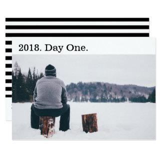 Modern Black White New Year Photo Card Horizontal