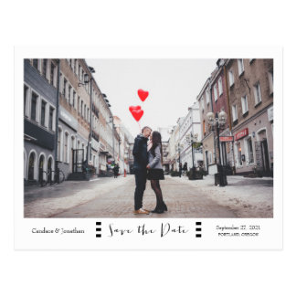 Modern Black & White Photo Save the Date Postcard