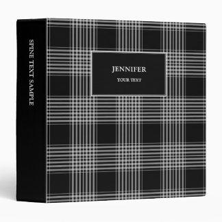 Modern black white plaid checkered monogram name vinyl binder