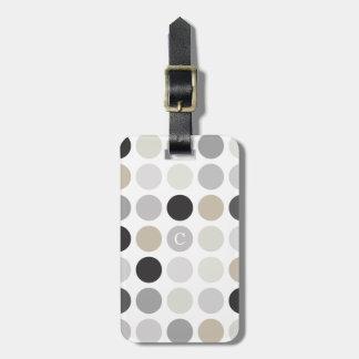 Modern black white polka dots pattern monogram luggage tag