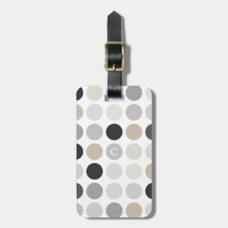 Modern black white polka dots pattern monogram luggage tags