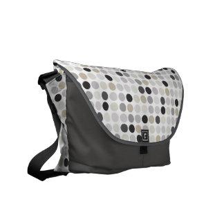 Modern black white polka dots pattern monogram courier bag