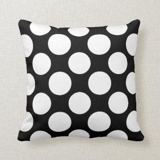 Modern Black White Polka Dots Pattern Pillows