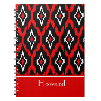 Modern black white red Ikat Tribal Pattern 1 Spiral Notebook