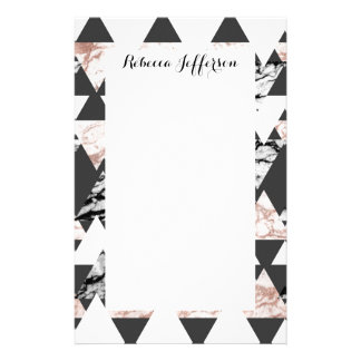 Modern Black White Rose Gold Marble Geo Triangles Stationery
