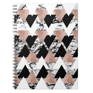 Modern Black White Rose Gold Triangles on Marble Notebooks